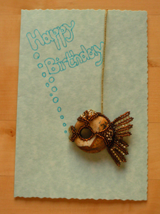 Jenny Wilson's fish Titanic used as a birthday card decoration