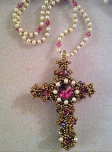 Byzantine Cross worked by Ann Hadlow - she's embellished her cross with more pearls on the face and made a beautiful pearl and crystal necklace for it.