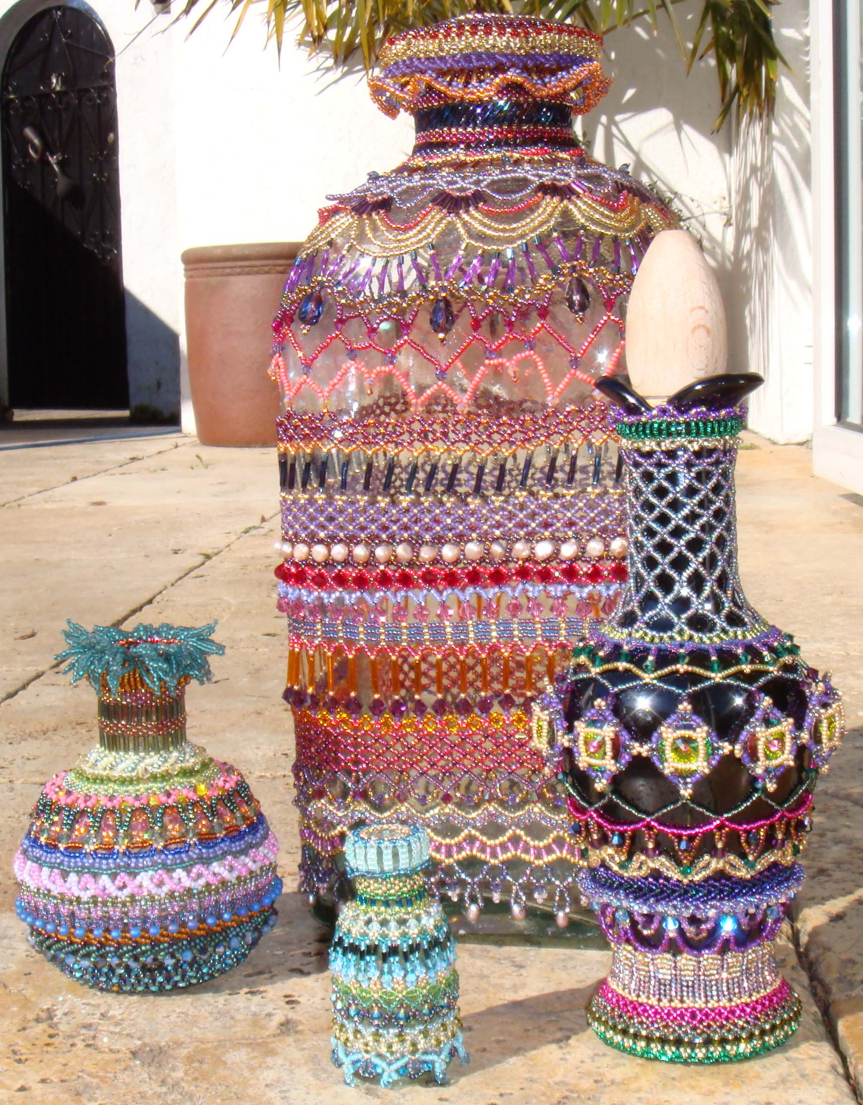 Embellished beaded bottles