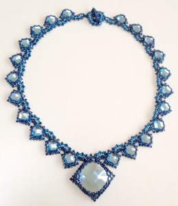Aqua version of Isabella necklace by Melanie de Miguel