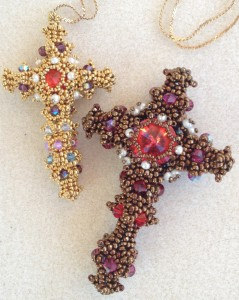 2 versions of my Byzantine Cross design - by Melanie de Miguel at Beadschool