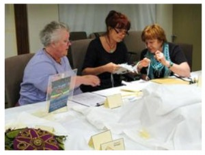 Mel, Sandra and Helga judging the Challenge for the Beadworkers Guild