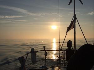 Sunrise, sailing out of St Malo