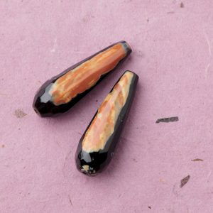 Heat-treated Agate, faceted Stone Drop beads 30x8mm