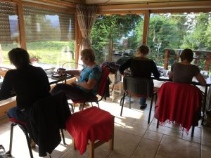 The girls hard at work in my Hubble stitch class in the Alps