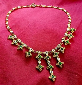 Marie Antoinette necklace worked in Hubble stitch, using Swarovski Electra rivolis with 24Kt gold seed beads and 2-2.5mm seed pearls.