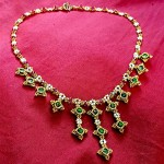 Marie Antoinette Necklace worked in Hubble stitch with tiny Swarovski rivolis, bicones and freshwater seed pearls.