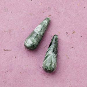 Seraphinite Stone Drop beads 30x8mm