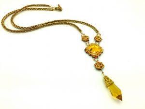 Sun Goddess beaded crystal pendant