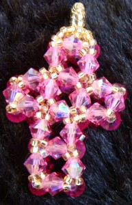 Crystal cross made from Swarovski bi-cones and Miyuki seed beads.