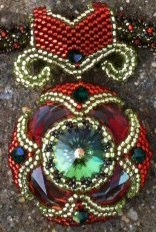 Nefertiti's Treasure beaded necklace with Swarovski Cosmic Ring and Rivoli by Melanie de Miguel