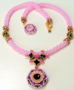 Morgan Le Fay version in Antique Pink and Amethyst with 24K gold Charlottes