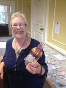 Chris with her Beaded Bottle, quite rightly looking very pleased with herself!
