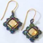 Luisa Earrings in Golden Shadow and Green Iris