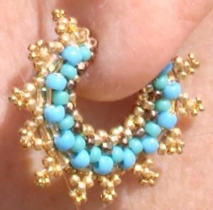 Mandelbrot Hoop Earring in Turquoise