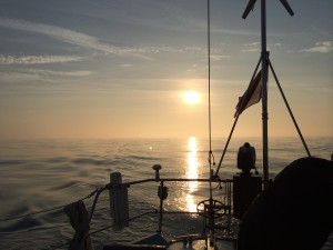 Sunrise, sailing out of St Malo